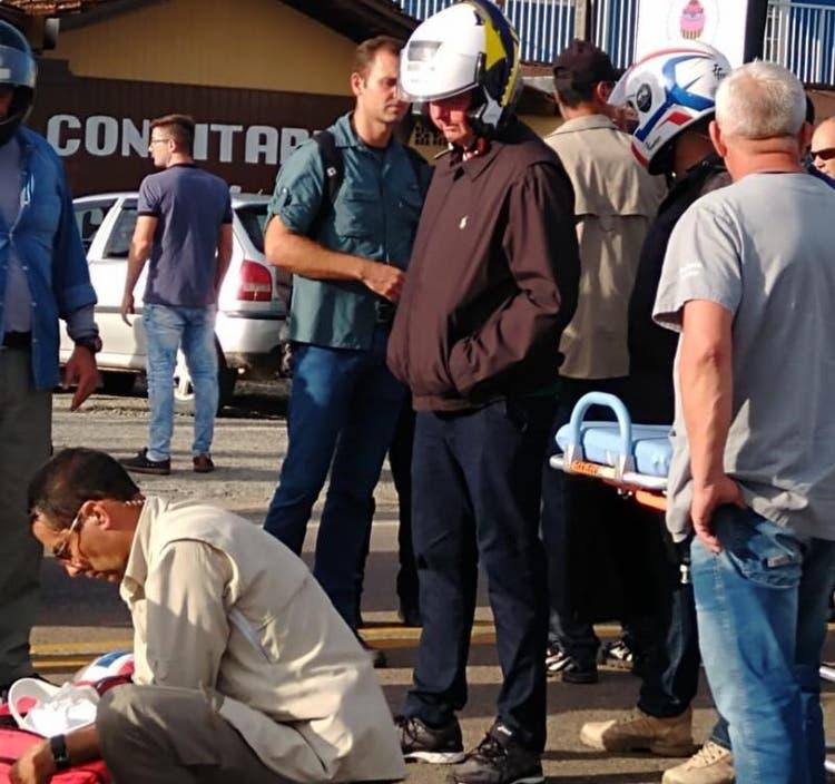 Ambulância que estava a serviço do presidente atendeu ocorrência de atropelamento(Foto: arquivo pessoal)