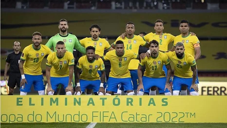 Jogadores do Brasil posam para foto antes do duelo com o Equador Foto: Lucas Figueiredo/ CBF