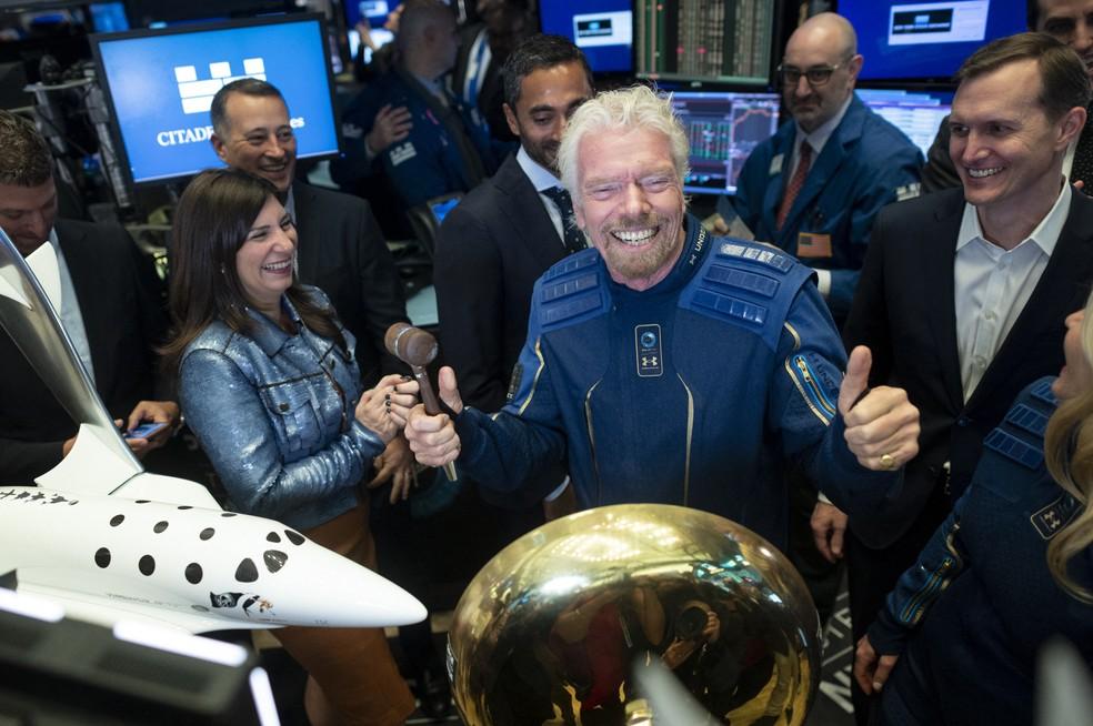 Richard Branson, fundador da Virgin Galactic, em foto tirada em 28 de outubro de 2019 — Foto: Johannes EISELE / AFP